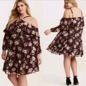 NWT Torrid Wine Cold Shoulder Ruffle Dress Size 22